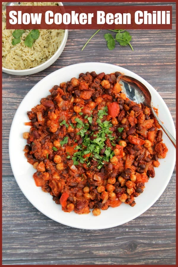 Bean chilli text image collage.