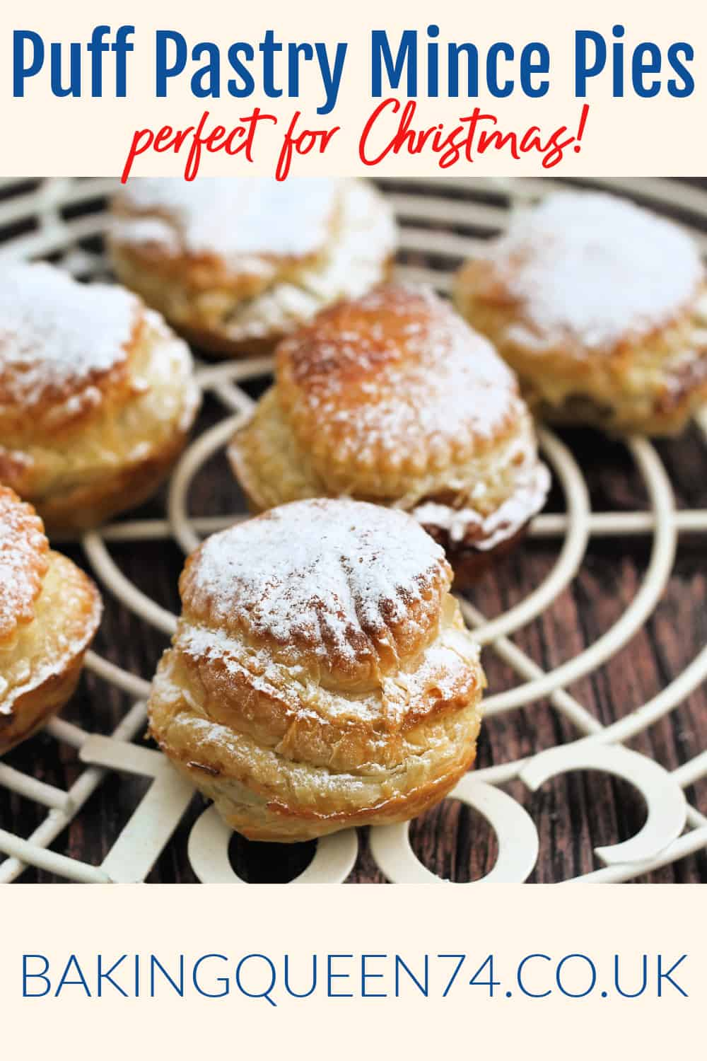Puff pastry mince pies image and text collage for pinning.
