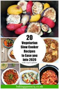 Vegetarian slow cooker recipes image and text collage for pinterest.
