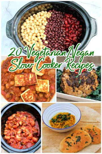 Collage of veggie slow cooker dishes.