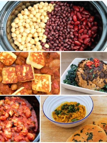 Collage of vegetarian/vegan slow cooker dishes.