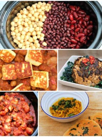 Collage of vegetarian/vegan slow cooker dishes.