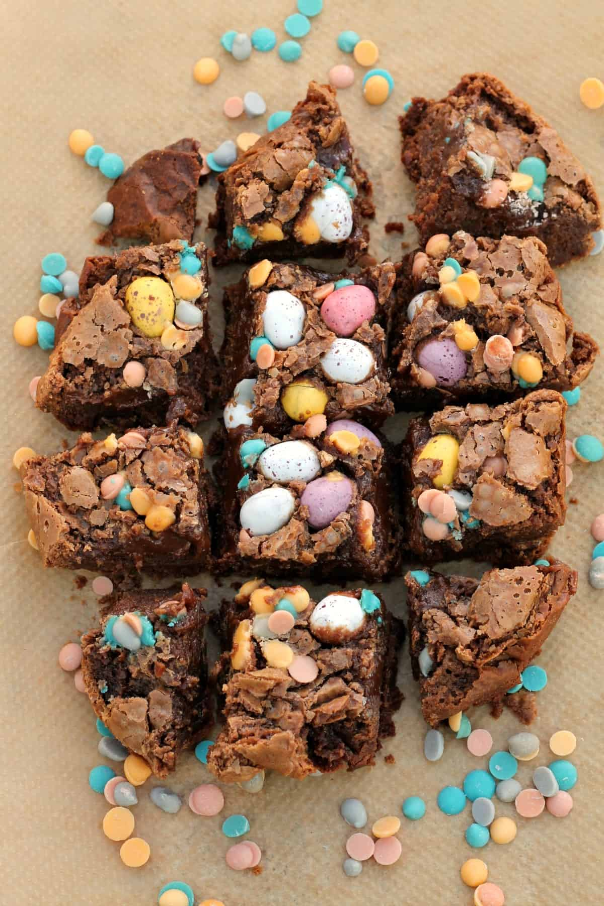Brownies topped with Mini Eggs in squares.