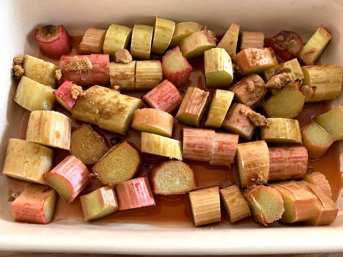 Cooked rhubarb in a dish.