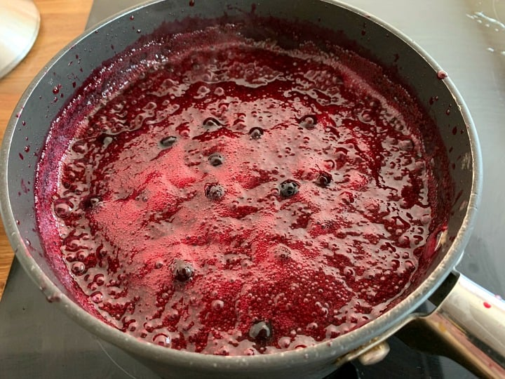 Jam in saucepan once it has reached the required temperature.