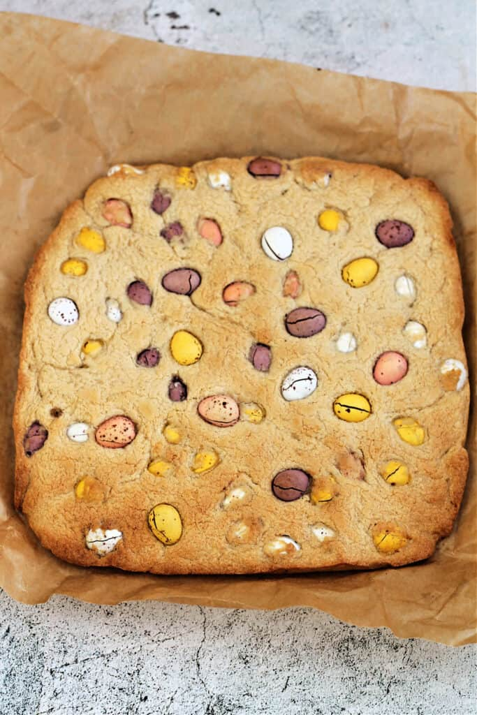 Mini egg cookie bar slab, after baking.