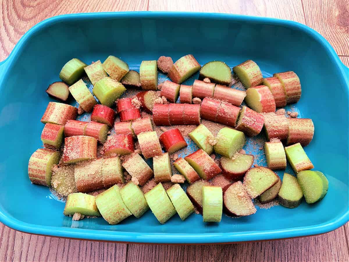 Rhubarb pieces in a ceramic blue dish.
