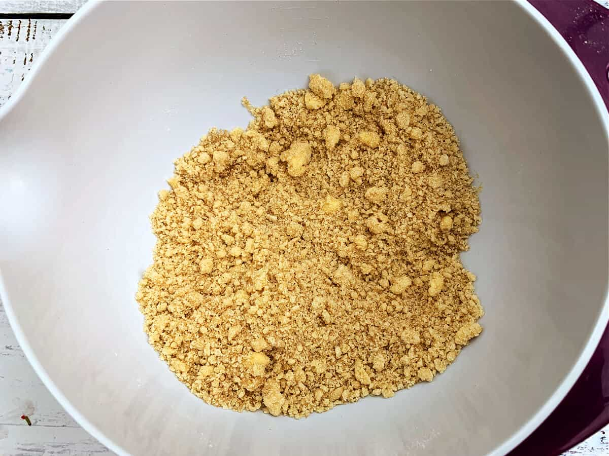 Bowl containing crumble topping ready to use.
